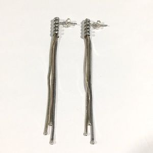 Vintage Sterling Silver Two Tone Earrings